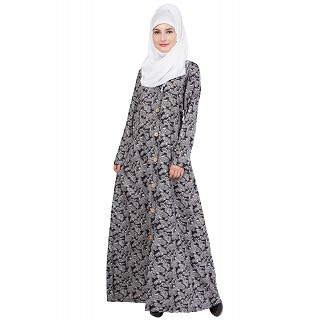 Front open Abaya- Islamic dress with Black with White print