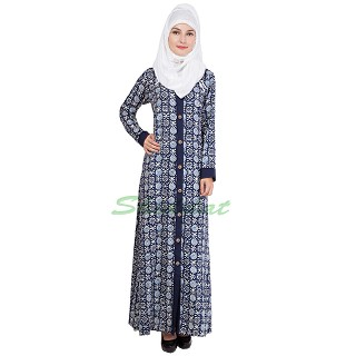 Front open Abaya- Navy Blue printed