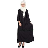 Frock style abaya with Short Sleeves  -Black color