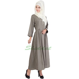 Frock style abaya with short sleeves design -Sandstone color