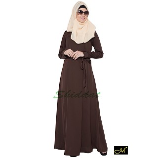 Designer Abaya in Dark Brown color