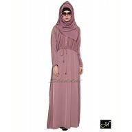 Designer Abaya in puce pink color
