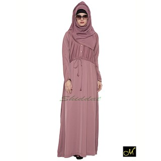 Designer Abaya in puce pink color