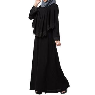 Designer Cape Abaya with lace work- Black