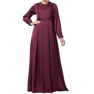 Designer Nida Dress abaya- Burgundy
