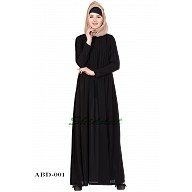 Pin-tuck  Abaya in Black color