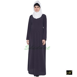 Pin-tuck  Abaya in Dark Grey color