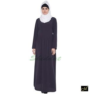 Pin-tuck  Abaya in Dark Grey color