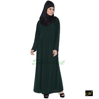 Pin-tuck Abaya in Dark Green color