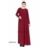 Pin-tuck abaya in Maroon color
