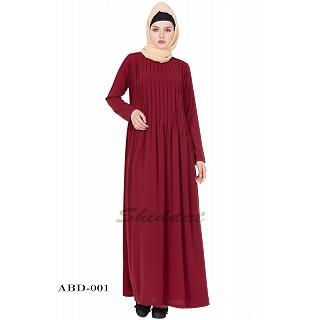 Pin-tuck abaya in Maroon color