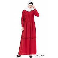 Pin-tuck  Abaya in Red color