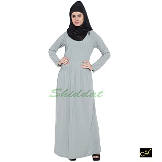 Pin-tuck  Abaya in Sea Green color