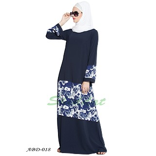 Floral Patched Abaya - Blue