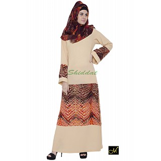 Beige abaya with graphics print