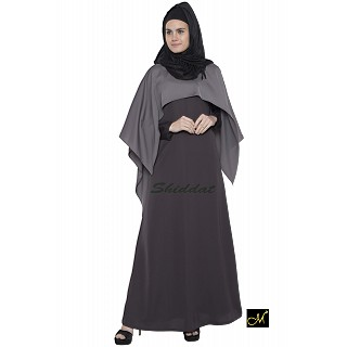 Cape abaya dress- Dark grey