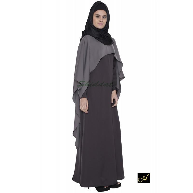 Cape Abaya Dress Online In India Dark Grey On Dark Brown