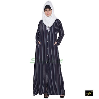Front Open Strip Abaya- Navy Blue