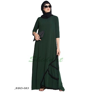 Abaya dress with frilled details- Dark Green