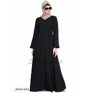 Flared abaya with frills on sleeves- Black