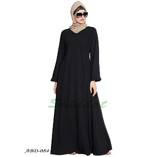Umbrella abaya with frills on sleeves- Black