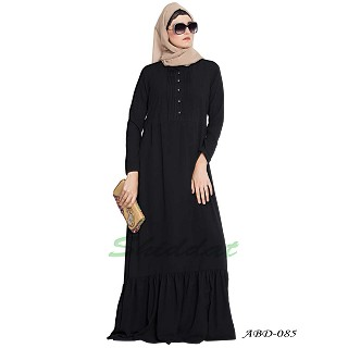 Frilled abaya dress with pintucks- Black