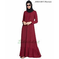 Frilled abaya dress with pintucks- Maroon