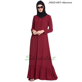 Frilled abaya dress with pintucks- Maroon