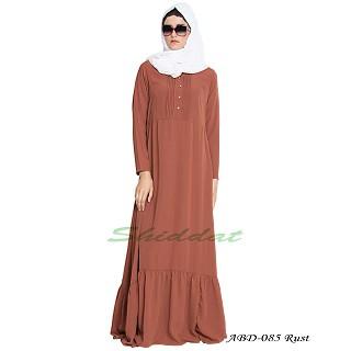 Frilled abaya dress with pintucks- Rust