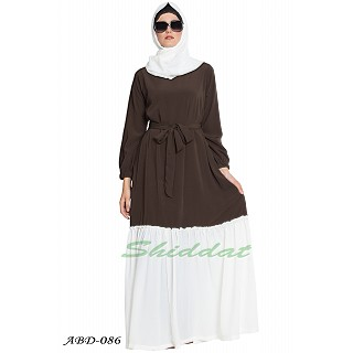 Dual colored casual abaya- Olive Green-Off White