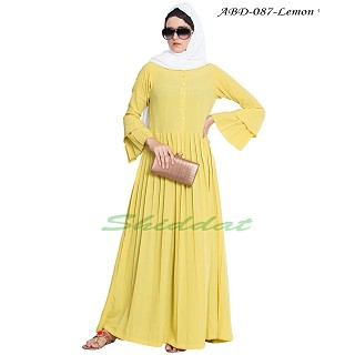 Casual abaya dress with multiple pleats and double sleeves- Lemon Yellow