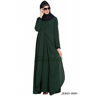 Multi layer abaya dress with frills- Dark Green