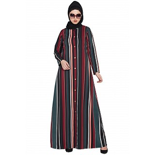 Multi-colored Striped front open abaya