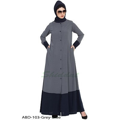 Front open casual abaya- Grey-Blue