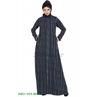 Striped front open abaya