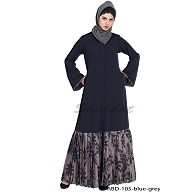 Front open Dress abaya- Blue-Grey