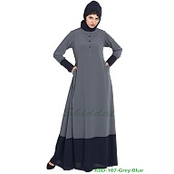 Dual color casual abaya- Grey-Blue