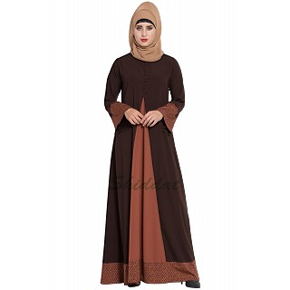 Casual abaya with printed borders- Brown-Rust