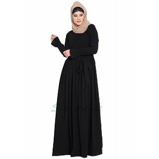 Pleated dress abaya with belt- Black color
