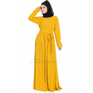 Pleated dress abaya with belt- Mustard color