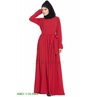 Casual pleated abaya- Red