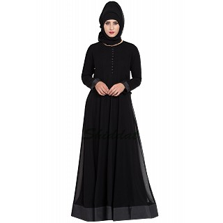 Designer double layered abaya- Black