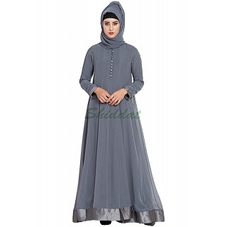 Designer double layered abaya- Grey