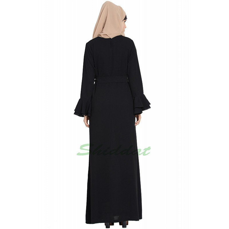 b79398f29398 Simple Black abaya- Buy A-line designer Black abaya at www.shiddat.com