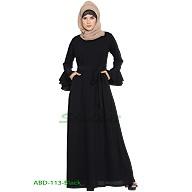 Black elegant abaya with a matching belt