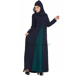 Dual-color A-line abaya