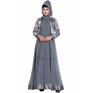 Designer double layered abaya with a Jacket combo- Grey