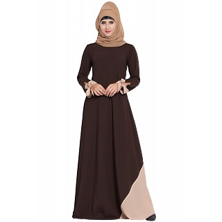 A-line abaya with designer sleeves- Brown