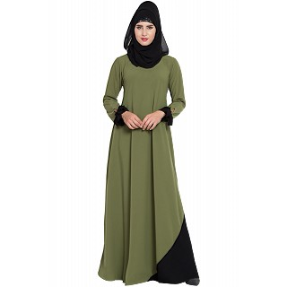 A-line abaya with designer sleeves- Jade Green