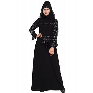 Polka dotted abaya Dress- Black